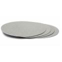 Planche argentée ronde, diamètre 16 cm, épaisseur 3 mm