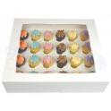 Boîte à cupcake mini blanche, pour 24 pièces avec séparateur