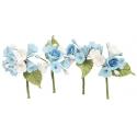 Branches mini roses bleues, 4 pièces
