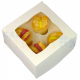 Cupcakes Box white, mini cupcakes, 4-cavity with inserts
