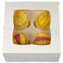 Boîte à mini cupcakes blanche, pour 4 pièces avec séparateur