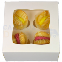 Boîte à cupcakes mini blanche, pour 4 pièces avec séparateur