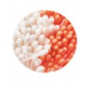 Decora - White pearl and orange pistils, 288 pieces