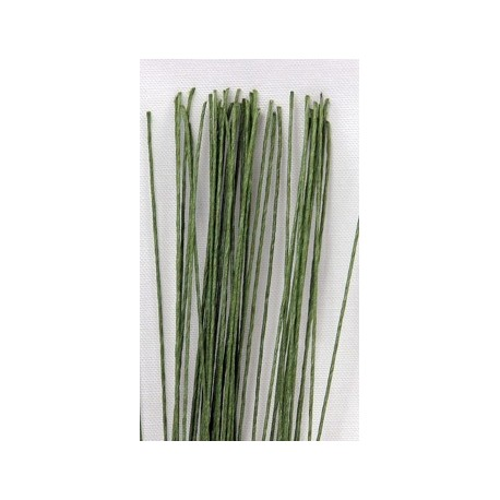 Green Cloth Covered Wire for Flowers, 22 Gauge, 38 cm, 20 Pieces