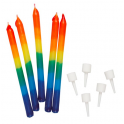 Rainbow candles, 12 pieces
