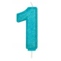 Candle blue sparkle number 1