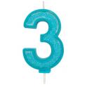 Bougie pailletée bleue numéro 3
