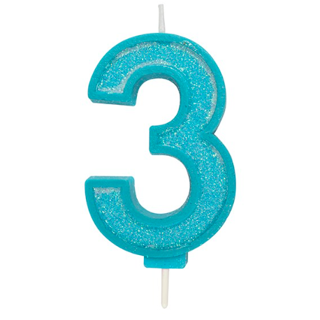 Candle blue sparkle number 3