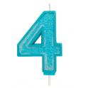 Bougie pailletée bleue numéro 4