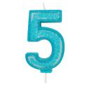 Bougie pailletée bleue numéro 5