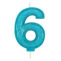 Bougie pailletée bleue numéro 6