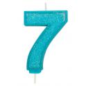 Bougie pailletée bleue numéro 7