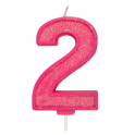Bougie pailletée rose numéro 2