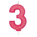 Bougie pailletée rose numéro 3