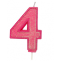Bougie pailletée rose numéro 4