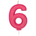 Bougie pailletée rose numéro 6