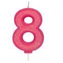 Bougie pailletée rose numéro 8