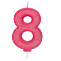 Candle pink sparkle number 8
