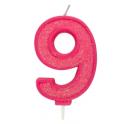 Bougie pailletée rose numéro 9