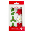 Sugar decoration poinsettia & holly leaves, 7 pieces