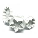 Dekofee - Emporte-pièce avec piston mix de fleurs, set de 3
