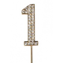 """Number 1 """"diamante"""" gold, 45 mm high"""