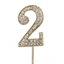 "Number 2 ""diamante"" gold, 45 mm high"