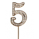 "Number 5 ""diamante"" gold, 45 mm high"