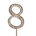 "Number 8 ""diamante"" gold, 45 mm high"