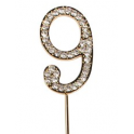 "Number 9 ""diamante"" gold, 45 mm high"