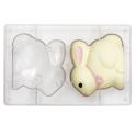 Moule lapin en chocolat, 2 cavités