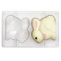 Plastic mold for chocolate Easter Bunny, 2 cavities
