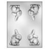 CK - Form für Schokolade Kaninchen, Hartplastik, 4 Vertiefungen