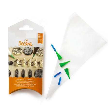 Decora - Writing Pastry bags, 10 bags & 10 tips