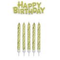 "Kerzen golden + ""Happy Birthday"", 16 + 1 Stück"