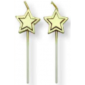 Candles Gold stars, 8 pieces