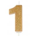 Bougie pailletée dorée numéro 1
