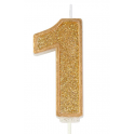 Candle gold sparkle number 1