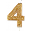 Candle gold sparkle number 4