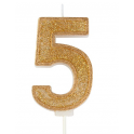 Candle gold sparkle number 5