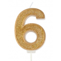 Candle gold sparkle number 6