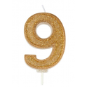Bougie pailletée dorée numéro 9