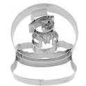 Ausstechform Schneemann Glaskugel, zirka 8 cm
