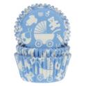 Caissettes à cupcakes bébé bleu, 50 pièces