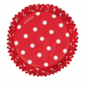 Cupcake baking cups Red and white dots, 75 pieces