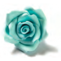 Decora Big light blue Sugar Roses, 6 pieces, approx. 4 cm