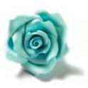 Decora Décoration en sucre grandes roses bleu clair, 6 pièces, env. 4 cm