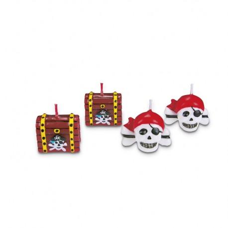 Candle set pirates 4 pieces.