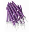 Bougies violet pailletées, 12 pièces