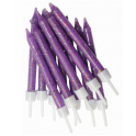 Purple glitter candles, 12 pieces